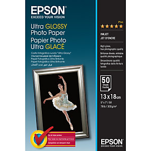 Epson Ultra Glossy Photo Paper - 13x18cm - 50 Feuilles, Gloss, 300 g/m², 50 feuilles, - Expression Premium XP-900 - Expression Premium XP-830 - Expression Premium XP-820 - Expression..., 1 pièce(s), 130 mm C13S041944