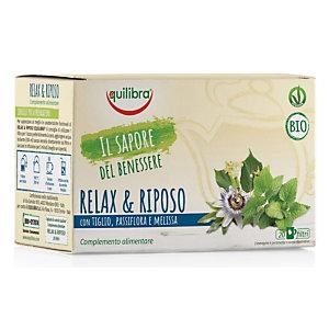 equilibra Tisana Relax & Riposo Biologica con Tiglio, Passiflora e Melissa (confezione 20 filtri)
