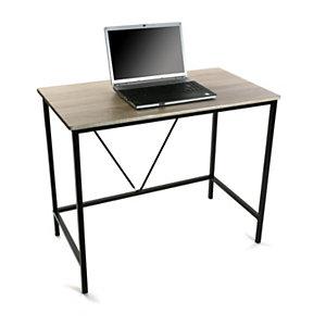 Escritorio Simply, metal negro y madera MDF, color roble, 90 x 50 x 75 cm