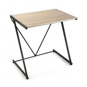 Escritorio Zeta, metal negro y madera MDF, color roble, 60 x 47,5 x 75 cm