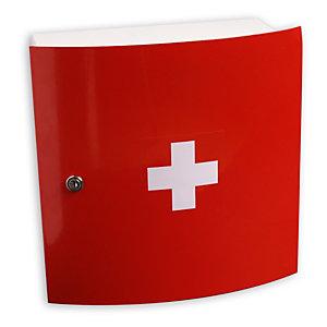 Esculape Armoire à pharmacie Design vide ,1 porte en métal rouge et blanche