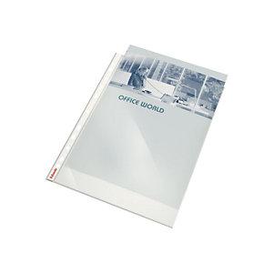 ESSELTE 100 gladde geperforeerde inleghoesjes, A4, polypropyleen 80 micron, 11 gaatjes, transparant