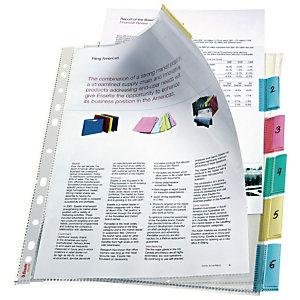 ESSELTE A4 showtas, 130-micron polypropyleen, met reliëf, 11 perforaties, transparant met gekleurde tabs