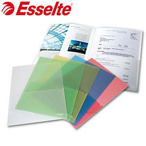 Esselte Busta a L, A4, Polipropilene, Goffrata, Colori assortiti trasparente (confezione 5 pezzi)