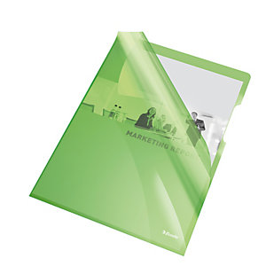 ESSELTE Cartelline a L - PVC - liscio - 21x29,7 cm - verde cristallo - Esselte - conf. 25 pezzi