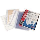 Esselte Funda perforada, Folio, polipropileno de 50 micras, 11 orificios, rugosa, transparente