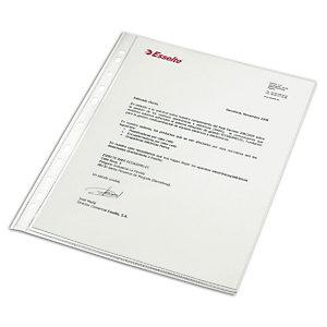 Esselte Funda perforada, Folio, polipropileno de 80 micras, 16 orificios, lisa, transparente