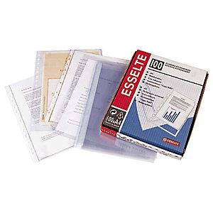 Esselte Funda perforada, Folio, polipropileno de 80 micras, 16 orificios, rugosa, transparente