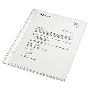 Esselte Funda perforada, Folio, PVC de 80 micras, 16 orificios, lisa, transparente