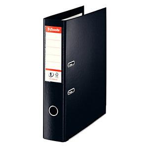 Esselte Nº1 Power Archivador de palanca, Folio, Lomo 75 mm, Capacidad 500 hojas, Cartón recubierto de polipropileno, Negro