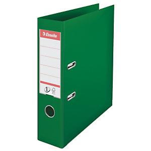 Esselte No. 1 Archivador de palanca, A4, ancho del lomo de 75mm, capacidad para 500 hojas, PVC, verde