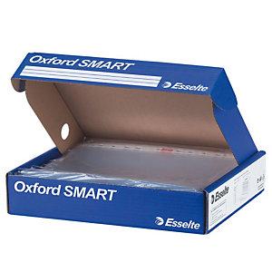 Esselte Oxford Smart Busta a foratura universale, A4, Polipropilene, Liscia glossy, 11 fori, Trasparente