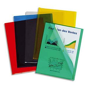 ESSELTE Pochette coin PVC 200 microns grainé, A4 - Coloris transparent assortis (lot de 100)