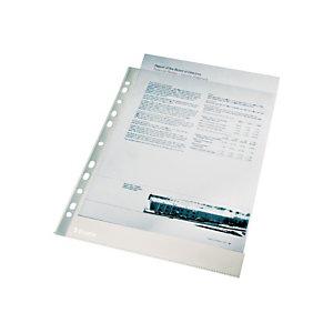 Esselte Pochette perforée lisse, A4, polypropylène 105microns, 11trous, transparente (Lot 100 pochettes)