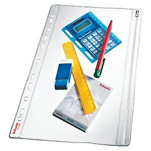 Esselte Pochette de protection étanche pour documents, A4, PVC 200microns, 11trous, transparent (Lot de 5)