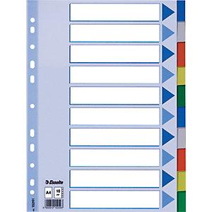 Esselte Separadores, A4, polipropileno, 10 pestañas, colores surtidos