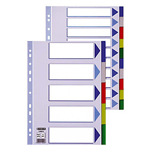 Esselte Separadores, A4, polipropileno, 5 pestañas, colores surtidos