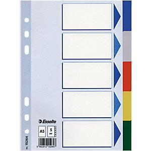 Esselte Separadores, A5, polipropileno, 5 pestañas, colores surtidos