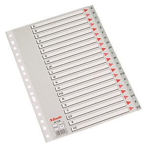Esselte Separadores alfabéticos A-Z, Folio, polipropileno, 20 pestañas, gris