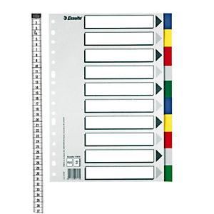 Esselte Separadores, Folio, polipropileno, 10 pestañas, colores surtidos