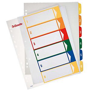 Esselte Separadores numéricos 1-6, A4+, polipropileno, 6 pestañas, colores surtidos