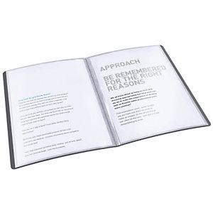 Esselte Vivida Carpeta de fundas A4, 60 fundas rugosas, cubierta flexible, negro