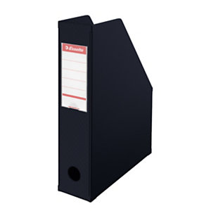 Esselte Vivida Revistero, cartón en PVC, 72 x 318 x 242 mm, negro