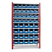 Estante galvanizada com gavetas de plástico