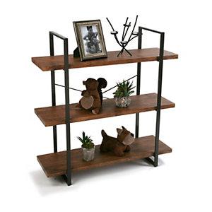 Estantería Oma, 3 baldas fijas, metal y madera, 100 x 33 x 104 cm