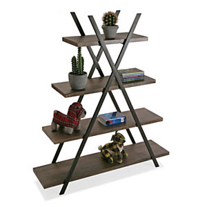 Estantería Vilem, 4 baldas fijas, metal y madera, 120 x 33 x 138 cm