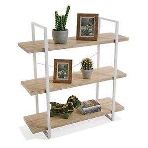 Estantería White, metal y madera color roble, 100 x 33 x 104 cm