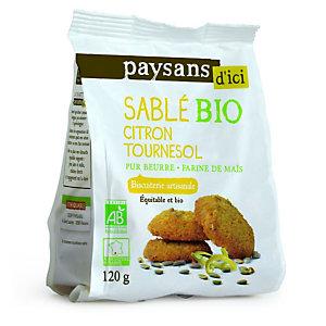 ETHIQUABLE Biscuit sablé Bio, citron tournesol - sachet de 120 g (Lot de 8)