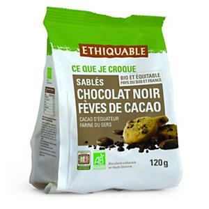 ETHIQUABLE Biscuit sablé aux pépites de chocolat noir et fèves de cacao Bio - paquet de 120g