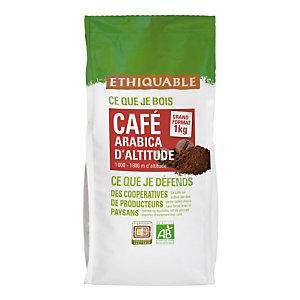 ETHIQUABLE Café en grains Congo arabica bio haute altitude - Intensité 3 - Sachet de 1 kg