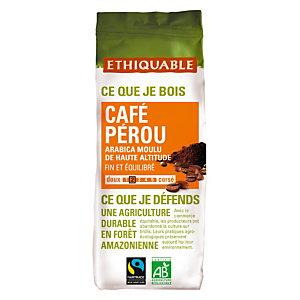 Ethiquable Café moulu Pérou équitable, Arabica, sachet, 250g