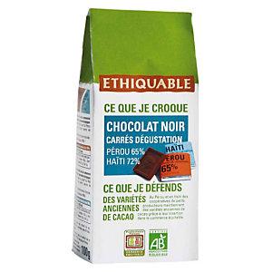 ETHIQUABLE Carrés dégustation de chocolat noir Napolitains Haiti Pérou bio - paquet de 100g