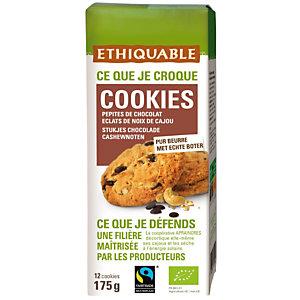 Ethiquable Cookies bio avec des pépites de chocolat et éclats de noix de cajou - Sachet de 175 g