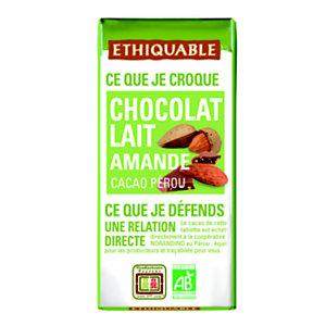 Ethiquable Mini tablette de chocolat au lait aux éclats d'amandes - 30 g