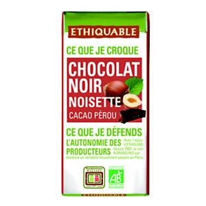 Ethiquable Mini tablette de chocolat noir aux éclats de noisettes - 30 g