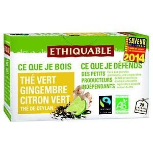 Ethiquable Sachets de thé vert de Ceylan gingembre citron vert