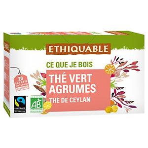 Ethiquable Thé vert agrumes Ceylan Bio et équitable - 20 sachets fraîcheur recyclables en infusette