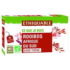 ETHIQUABLE Thé infusion Rooibos Bio d'Afrique de Sud - Boîte de 20 sachets fraîcheur