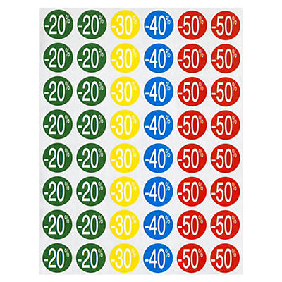 Pastilles avec remises -20 % à -50 %##Etiket voor kortingen -20% tot -50%