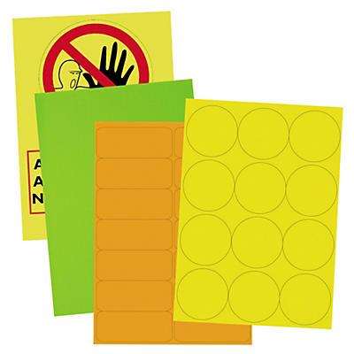 Étiquette fluo rectangualire adhésif permanent en planche A4##Etiketten und Markierungspunkte fluoreszierend