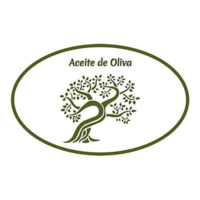 Etiqueta oval para cajas de aceite de oliva con diseño olivo