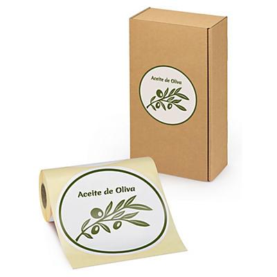 Etiqueta redonda para cajas de aceite de oliva con diseño hoja de olivo