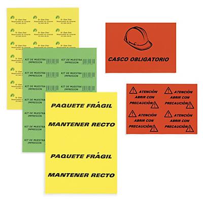 Etiquetas adhesivas color en hoja A4