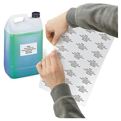 Etiquetas brancas adesivas de poliéster