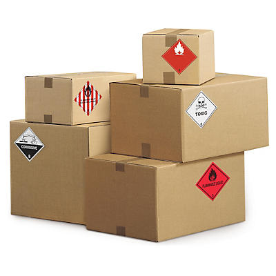 Etiquetas para o transporte de mercadorias perigosas em rolo
