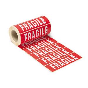 Etiquette adhésive pré-imprimée ''FRAGILE'' - Rouleau de 500 étiquettes 14 x 4 cm